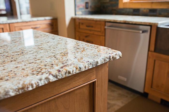 Chiseled Granite Edge Kitchen Counter Island