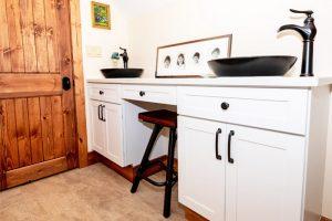 White Quartz & Cabinet Bathroom
