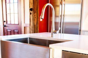 White Quartz Kitchen Sink Closeup